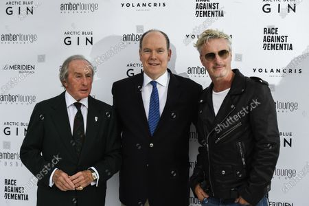 Sir Jackie Stewart, 3-time F1 Champion, at the Amber Lounge Fashion Show with Prince Albert II and Eddie Irvine