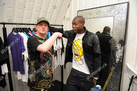 Journalist Colin Young (l) Gets Blinged Up In 'the Pr9ject' Djibril Cisse's Clothes Shop In Newcastle