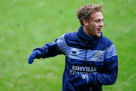 Stock Image of Stephen Duke-McKenna of QPR warms up before kick off