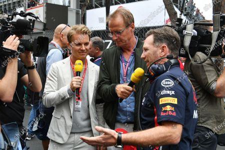 Nico Rosberg, Ari Vatanen and Christian Horner, Team Principal, Red Bull Racing