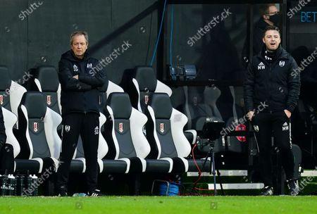 Fulham coach Stuart Gray, left, and Fulham Assistant Manager Matt Wells