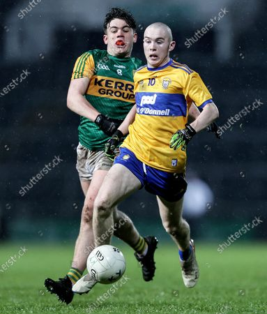 Clare vs Kerry. Clare's Dylan O'Brien and Oisin Maunsell of Kerry