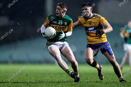 Clare vs Kerry. Kerry's Jordan Kissane and Brian McNamara of Clare