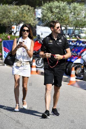 Romain Grosjean, Haas F1, with his wife Marion Jolles