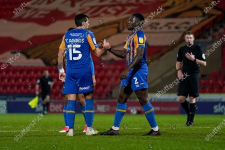 Stock Image of Shrewsbury Town defender Aaron Pierre (2) gestures and reacts after winning 0-1 during the EFL Sky Bet League 1 match between Doncaster Rovers and Shrewsbury Town at the Keepmoat Stadium, Doncaster