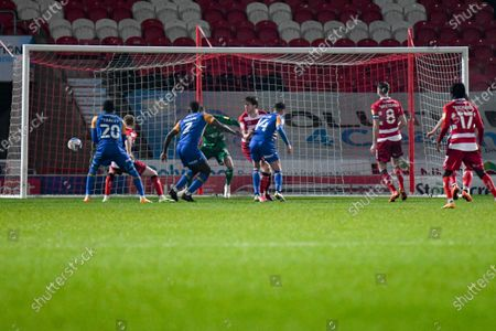 GOAL 0-1. Shrewsbury Town defender Aaron Pierre (2) scores a goal and celebrates to make the score 0-1 during the EFL Sky Bet League 1 match between Doncaster Rovers and Shrewsbury Town at the Keepmoat Stadium, Doncaster