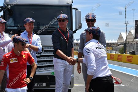 David Coulthard, Mark Webber and Toto Wolff, Executive Director (Business), Mercedes AMG