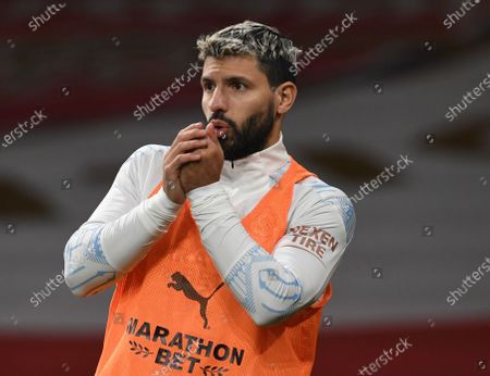 Sergio Aguero of Manchester City warms up during the Carabao Cup quarter final match between Arsenal FC and Manchester City in London, Britain, 22 December 2020.