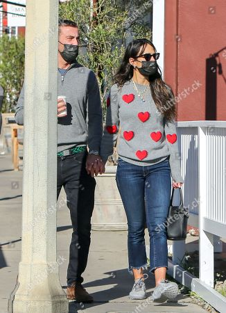 Jordana Brewster and Mason Morfit are seen getting coffee