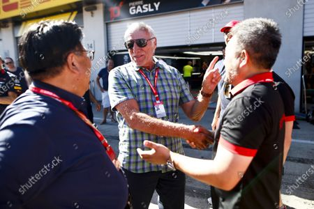 Dietrich Mateschitz, Co-Founder and CEO, Red Bull GmbH, celebrates victory for his team