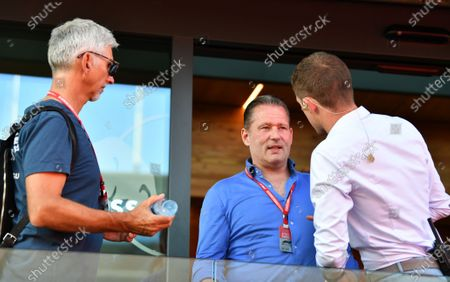 Damon Damon Hill (L) and Paul di Resta (R) speak with Max Verstappen's dad Jos Verstappen (C) while waiting to hear the verdict on a possible penality involving MAX VERSTAPPEN, RED BULL RACING  and CHARLES LECLERC, FERRARI
