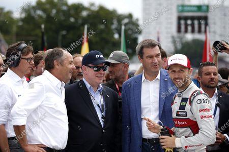 Gerhard Berger, ITR Chairman, Prince Albert of Monaco, Markus Söder, Bavarian Prime Minister, René Rast, Audi Sport Team Rosberg.