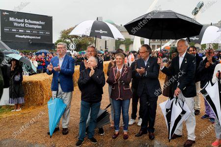 Ross Brawn, Luca Cordero di Montezemolo, Jean Todt, Corinna Schumacher and Lord March at the Michael Schumacher Celebration