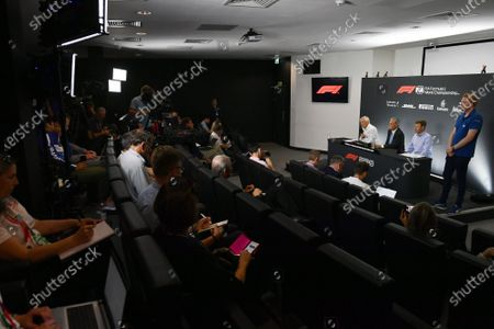 John Grant, Chairman of the BRDC, Chase Carey, Chairman, Formula 1 and Stuart Pringle, Managing Director of Silverstone Circuits in the Press Conference
