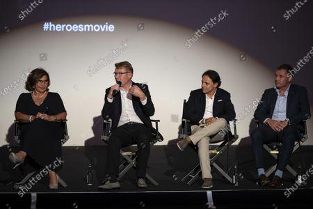 Michele Mouton, Mika Hakkinen, Felipe Massa and Tom Kristensen on stage