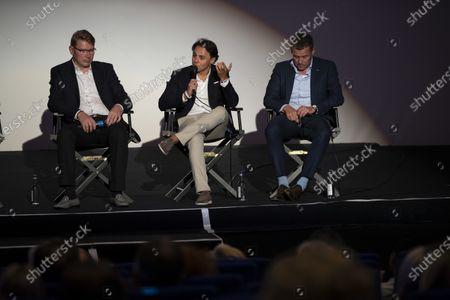 Mika Hakkinen, Felipe Massa and Tom Kristensen on stage