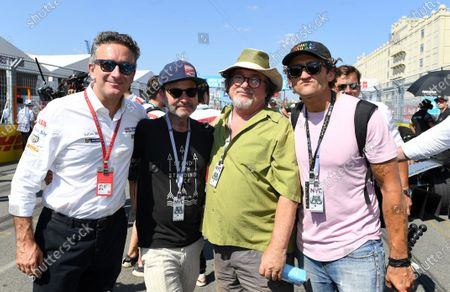 Stock Photo of Alejandro Agag, CEO, Formula E with actor Fisher Stevens and Casey Neistat