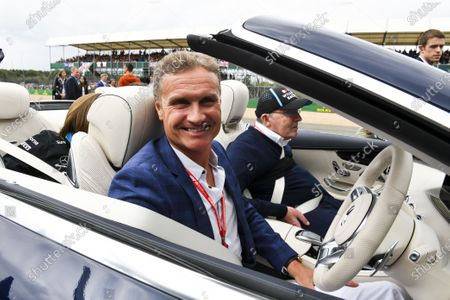 David Coulthard, Channel 4 F1, with Sir Frank Williams, Team Principal, Williams Racing