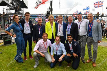 The Sky Sports F1 team. L-R: Natalie Pinkham, Paul di Resta, Johnny Herbert, Rachel Brookes, Simon Lazenby, Martin Brundle, David Croft, Damon Hill, Jenson Button, Anthony Davidson and Karun Chandhok