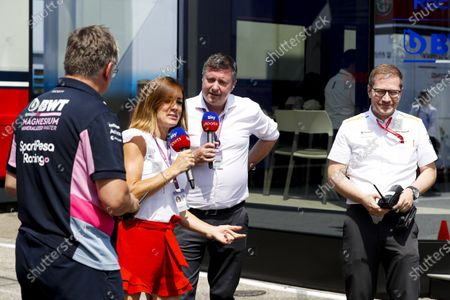 Natalie Pinkham and David Croft, Sky Sports F1, host a Radio Controlled Car race between Otmar Szafnauer, Team Principal and CEO, Racing Point, and Andreas Seidl, Team Principal, McLaren