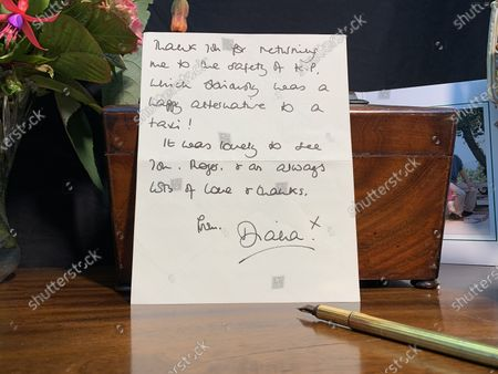 """The Princess of Wales,  letter dated August 12th 1996  - Thanking Roger for returning her to the safety of Kensington Palace after lunch, which was a """"much welcomed distraction from the mundane activities that are associated with an impending divorce!""""  A collection of charming letters written by Princess Diana to a male confidant who helped her through times of personal crisis have been put up for auction.  Diana's 'warm and caring' correspondence with Roger Bramble covered the period of her divorce from Princes Charles and the Andrew Morton's biography which revealed she had attempted suicide."""