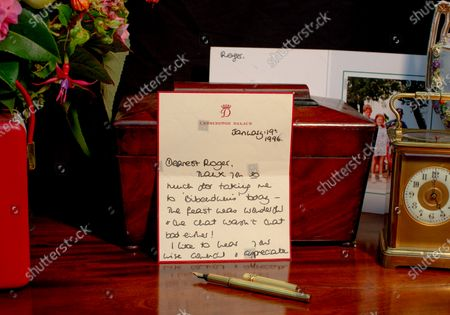 """Stock Image of Pictured: The Princess of Wales, signed letter dated January 19th 1996 - Thanking Roger for lunch at Bibendums and telling him """"I like to hear your wise council(sic) and appreciate the pointers too - You are hugely kind to me Roger and it makes all the difference.""""  A collection of charming letters written by Princess Diana to a male confidant who helped her through times of personal crisis have been put up for auction.  Diana's 'warm and caring' correspondence with Roger Bramble covered the period of her divorce from Princes Charles and the Andrew Morton's biography which revealed she had attempted suicide."""