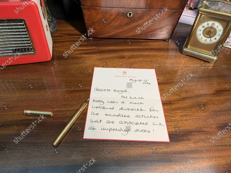 """Pictured: The Princess of Wales,  letter dated August 12th 1996  - Thanking Roger for returning her to the safety of Kensington Palace after lunch, which was a """"much welcomed distraction from the mundane activities that are associated with an impending divorce!""""  A collection of charming letters written by Princess Diana to a male confidant who helped her through times of personal crisis have been put up for auction.  Diana's 'warm and caring' correspondence with Roger Bramble covered the period of her divorce from Princes Charles and the Andrew Morton's biography which revealed she had attempted suicide."""