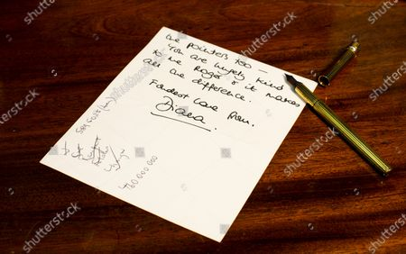 """Pictured: The Princess of Wales, signed letter dated January 19th 1996 - Thanking Roger for lunch at Bibendums and telling him """"I like to hear your wise council(sic) and appreciate the pointers too - You are hugely kind to me Roger and it makes all the difference.""""  A collection of charming letters written by Princess Diana to a male confidant who helped her through times of personal crisis have been put up for auction.  Diana's 'warm and caring' correspondence with Roger Bramble covered the period of her divorce from Princes Charles and the Andrew Morton's biography which revealed she had attempted suicide."""