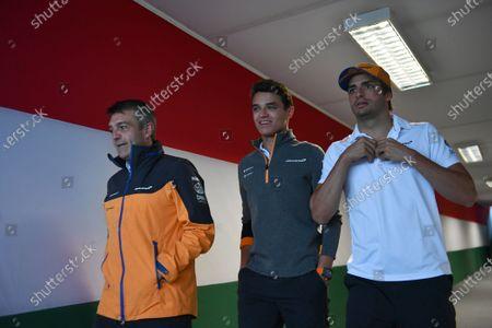 Stock Image of Paul James, Team Manager, McLaren, Lando Norris, McLaren, and Carlos Sainz Jr, McLaren