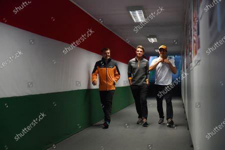 Stock Picture of Paul James, Team Manager, McLaren, Lando Norris, McLaren, and Carlos Sainz Jr, McLaren