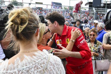 Stock Photo of Corinna Schumacher, Gina-Maria Schumacher and Mattia Binotto, Team Principal Ferrari celebrating the F2 win of Mick Schumacher (DEU, PREMA RACING)