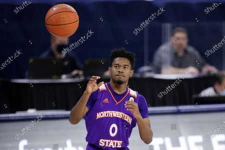 Northwestern State guard CJ Jones receives the ball during the second half of an NCAA college basketball game against Gonzaga in Spokane, Wash
