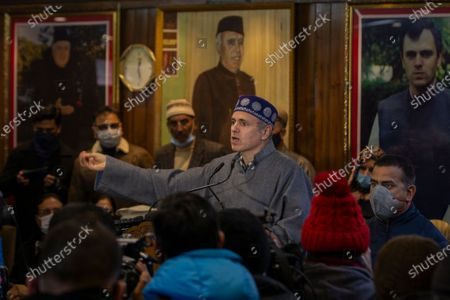 Former chief minister of Jammu and Kashmir Omar Abdullah speaks during a meeting with his party workers a day after the District Development Council elections results in Srinagar, Indian controlled Kashmir, . An alliance of political parties opposed to New Delhi's policies in Kashmir has won a majority of seats in local elections, the first since New Delhi revoked the disputed region's semiautonomous status and took direct control last year. The alliance, which is pro-India but favors self-governance for Kashmir, won 112 out of a total of 280 seats in District Development Council elections