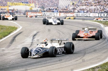 Eddie Cheever, Osella FA1 Ford, leads Jody Scheckter, Ferrari 312T5, Nelson Piquet, Brabham BT49 Ford, and John Watson, McLaren M29C Ford.
