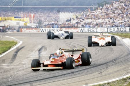 Jody Scheckter, Ferrari 312T5, leads John Watson, McLaren M29C Ford, and Eddie Cheever, Osella FA1 Ford.