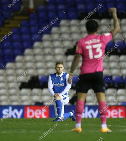 Adam Clayton of Birmingham City  takes the knee in solidarity with Black Lives Matter movement / sky bet