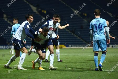 Sean Maguire of Preston North End celebrates scoring his sides second goal