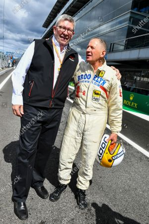 Stock Picture of Ross Brawn, Managing Director of Motorsports, FOM, with Jody Scheckter, 1979 World Champion