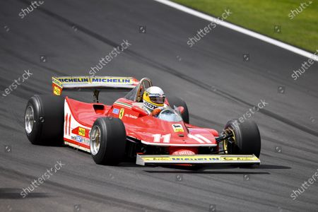 Jody Scheckter drives the Ferrari 312T4 he won the 1979 World Championship with