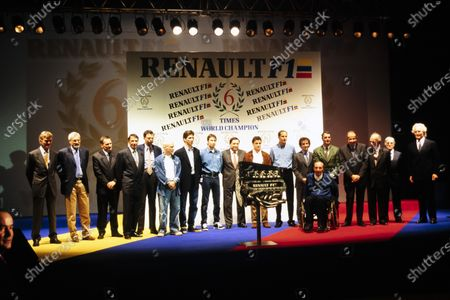 A celebration of Renault's achievements in F1, with a number of prominent drivers present: Jacques Villeneuve, Damon Hill, Heinz-Harald Frentzen, Jean Alesi, Gerhard Berger, Alain Prost and Nigel Mansell. Max Mosley and Frank Williams are also present.