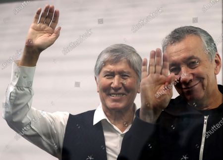 Former Kyrgyzstan president Almazbek Atambayev (L) and former Chief of Staff Farid Niyazov (R) attend a court hearing on the events in the village of Koy-Tash in Bishkek, Kyrgyzstan, 23 December 2020. Special forces of the State Committee for National Security tried to detain the Atambayev on 07 August 2019 in the village of Koy-Tash in order to bring him for interrogation to the Prosecutor General's Office. Almazbek Atambayev is charged with an article on organizing mass riots, the State Committee for National Security of Kyrgyzstan said.