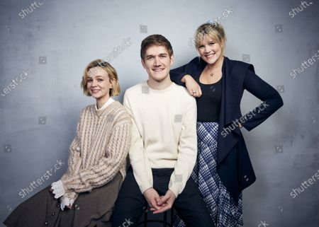 """Actors Carey Mulligan, from left, Bo Burnham and writer/director Emerald Fennell pose for a portrait to promote their film """"Promising Young Woman"""" during the Sundance Film Festival in Park City, Utah on"""