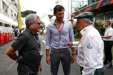 Sir Martin Sorrell, Mark Webber, Presenter and Sir Jackie Stewart, 3-time F1 Champion