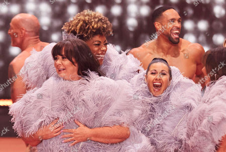 Boy and girls strip together at the end of The Real Full Monty on Ice (l-r) Gareth Thomas, Coleen Nolan, Dr Zoe Williams, Hayley Tamaddon, Ashley Banjo and Linda Lusardi,