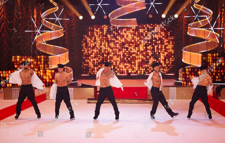 The Real Full Monty on Ice (l-r) Ashley Banjo, Chris Hughes, Gareth Thomas, Jake Quickenden and Perri Kiely strip to 'You Can Leave Your Hat On' to raise Cancer Awareness