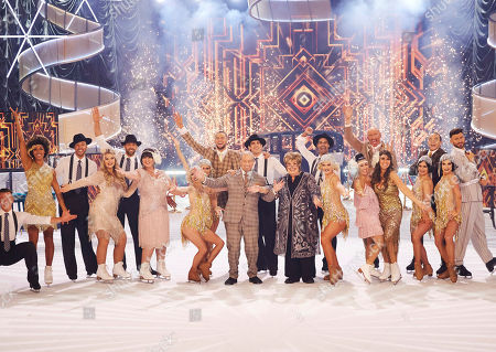 This years Celebrities line up on the ice with pro skaters at the end of the opening dance routine - (Celebrities l-r) Dr Zoe Williams, Shaughna Phillips, Coleen Nolan, Chris Hughes, Bob Champion, Jenni Murray, Gareth Thomas, Hayley Tamaddon, Linda Lusardi, Perri Kiely and Jake Quickenden