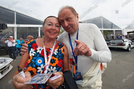 Jochen Mass with a fan.