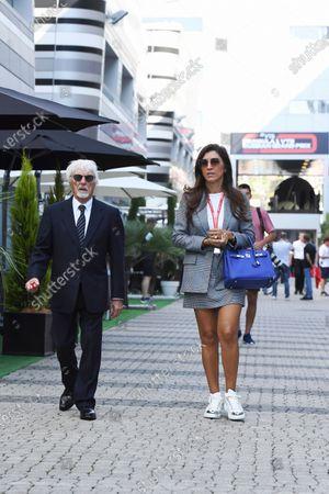 Stock Photo of Bernie Ecclestone, Chairman Emiritus of Formula 1 and wife Fabiana Flosi