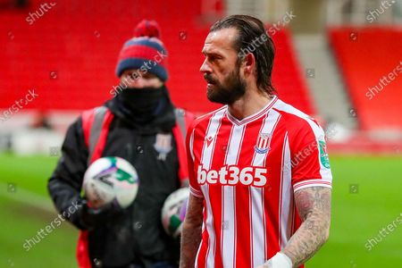 Stoke City forward Steven Fletcher (21) during the EFL Cup quarter-final match between Stoke City and Tottenham Hotspur at the Bet365 Stadium, Stoke-on-Trent