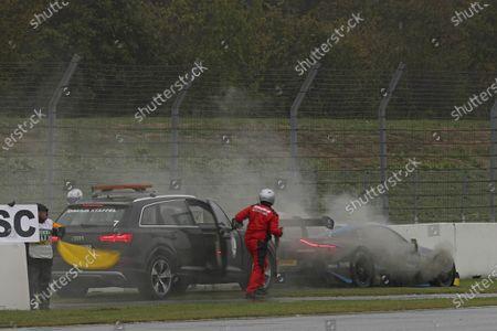 Daniel Juncadella, R-Motorsport, Aston Martin Vantage AMR stops on track  .